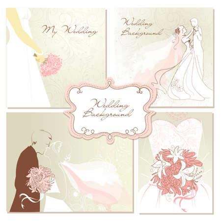 heiraten: Set mit schönen Hochzeit Vektor Hintergründe. Einfach zu bearbeiten. Perfekt für die Hochzeit Einladungen oder Ankündigungen. Illustration