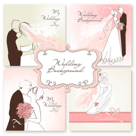 happy couple: Set of beautiful vector Wedding Backgrounds. Easy to edit. Perfect for wedding invita
