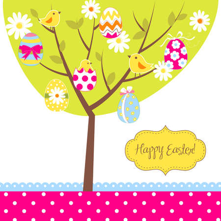 family holiday: Retro Easter card with a tree, painted eggs, chicks, flowers and other cute elements