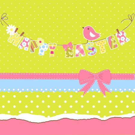 buona pasqua: Carino carta di Buona Pasqua. Clothesline con lettere su di esso. Vettoriali