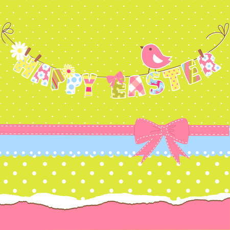 happy easter: Cute Happy Easter card. Clothesline with letters on it.