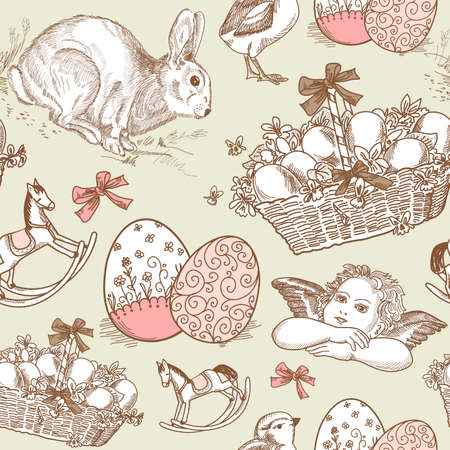 Vintage Easter Seamless background Vector
