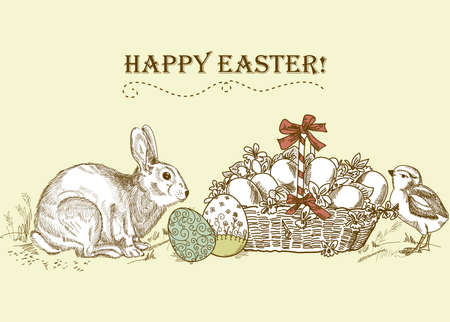 Vintage Easter Card Stock Vector - 13340546