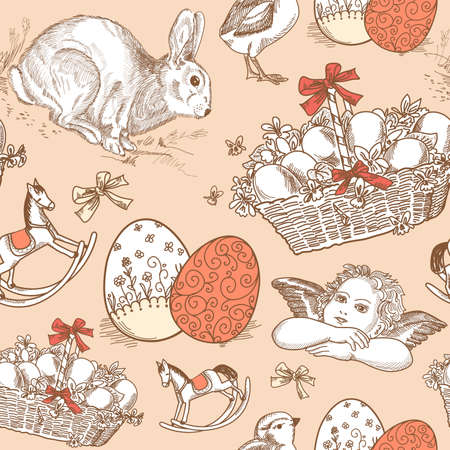 victorian wallpaper: Vintage Easter Seamless background  Illustration