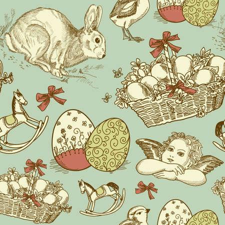 vintage postcard: Vintage Easter Seamless background  Illustration