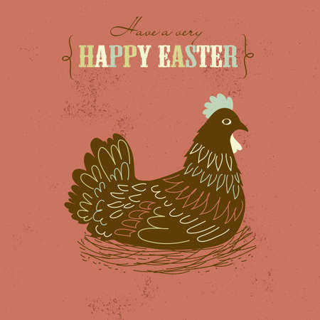 Cute Easter card with chicken  Vector