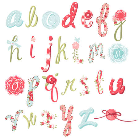 set form: Unique vector flower font. Amazing hand drawn Alphabet.  Illustration