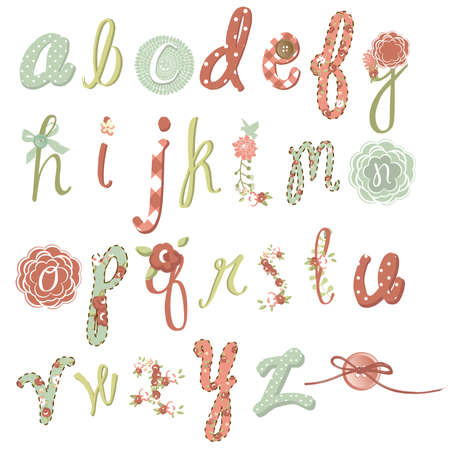 Unique vector flower font. Amazing hand drawn Alphabet.  Illustration