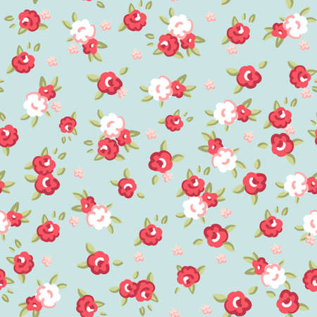 English Rose, Seamless wallpaper pattern with pink roses on blue background, vector illustration   イラスト・ベクター素材