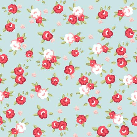 petites fleurs: Anglais Rose, motif de papier peint sans soudure avec les roses roses sur fond bleu, illustration vectorielle