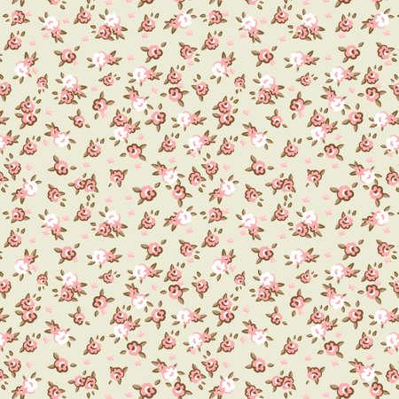 minable: Anglais Rose, motif de papier peint sans soudure avec les roses roses sur fond bleu, illustration vectorielle
