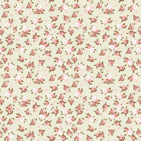small flowers: English Rose, Seamless wallpaper pattern with pink roses on blue background, vector illustration  Illustration