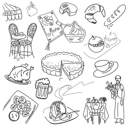 Food doodles. Elegant cuisine.  Vector