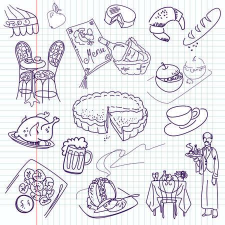 Garabatos de alimentos. Cocina elegante. Foto de archivo - 13340540
