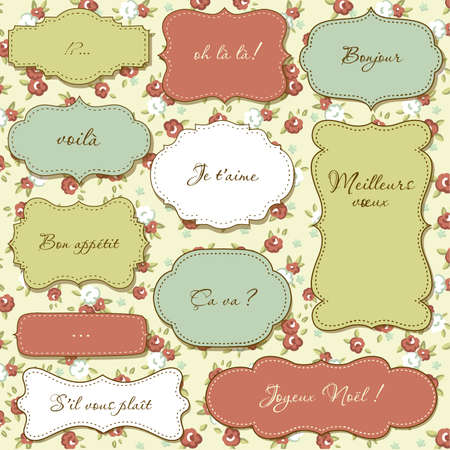 Vintage frames, seamless floral pattern as a background Vector