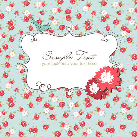 english rose: Vector floral frame with a bird