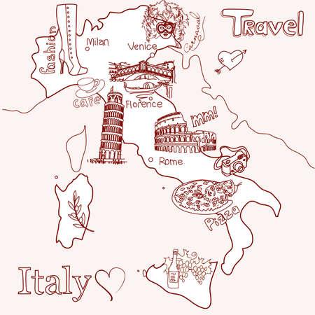 Kreatív Olaszország térkép Illusztráció