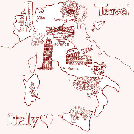 Creative map of Italy Illustration