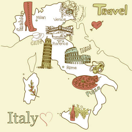 Creative map of Italy. Sightseeing in Italy Vector
