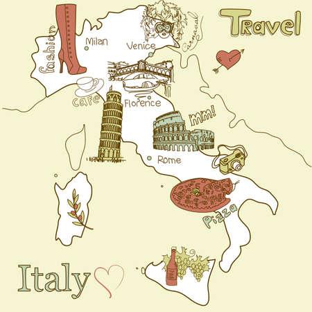 Kreatív Olaszország térkép. Városnézés Olaszország