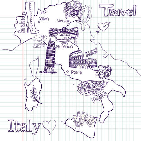 venezia: Creative map of Italy Illustration