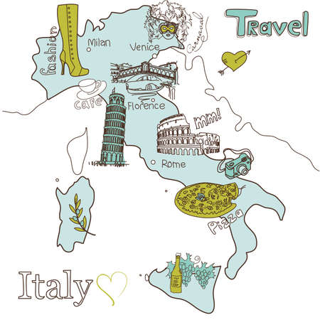 Creative map of Italy  Stock Vector - 13340573