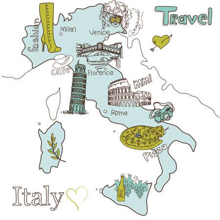 rome italie: La carte de l'Italie Creative Illustration