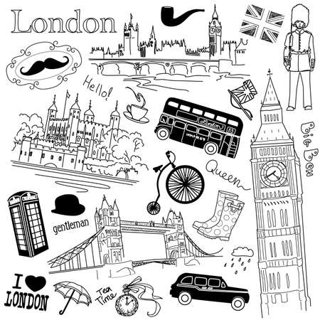 londres autobus: Londres garabatos Vectores