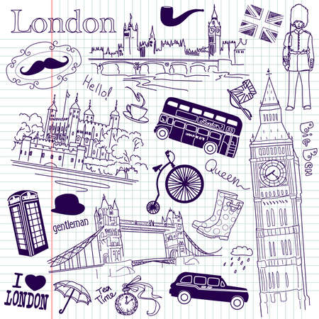 london tower bridge: London doodles Illustration