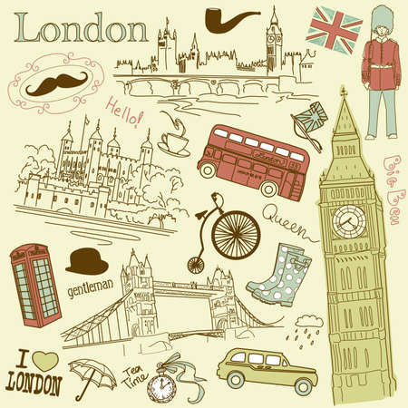 bus anglais: Doodles Londres Illustration