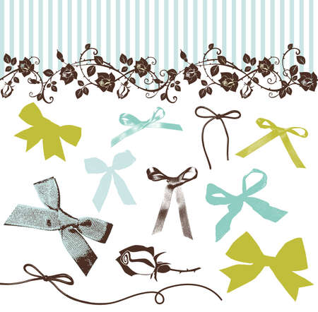 French Bows and Roses  Illustration