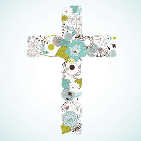 Beautiful cross made from flowers  Illustration