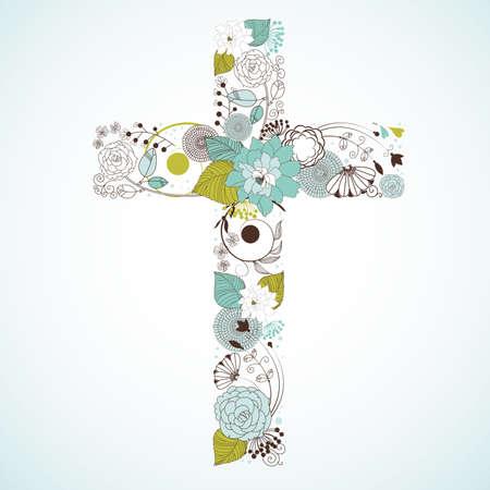 Hermosa cruz hecha de flores