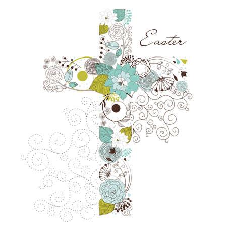 Belle croix à base de fleurs