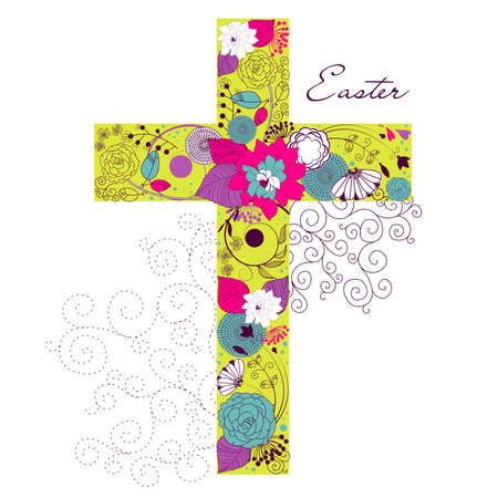 Beautiful cross made from flowers Stock Illustratie