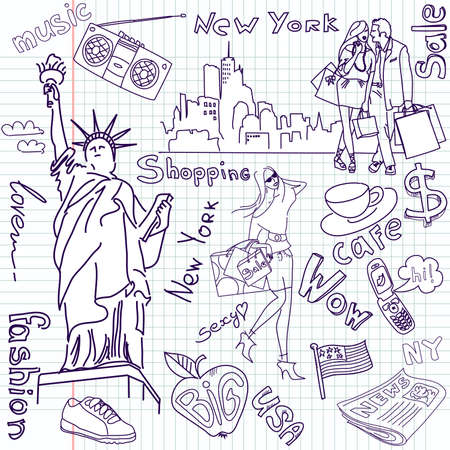 Shopping in New York doodles  向量圖像