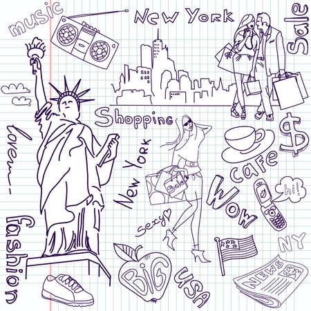 Shopping in New York doodles  Çizim