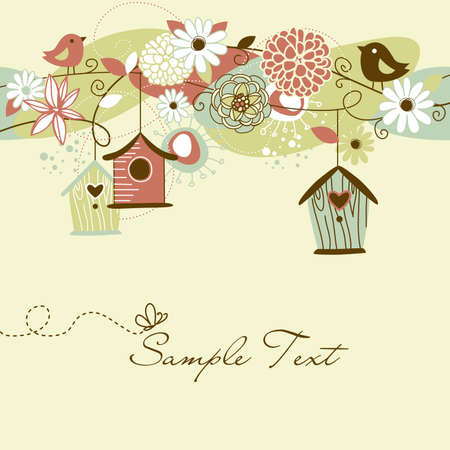 chocolate box: Beautiful Spring background with bird houses, birds and flowers  Illustration