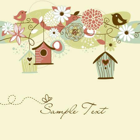 Beautiful Spring Hintergrund mit Vogelhäuschen, Vögel und Blumen Standard-Bild - 13346962