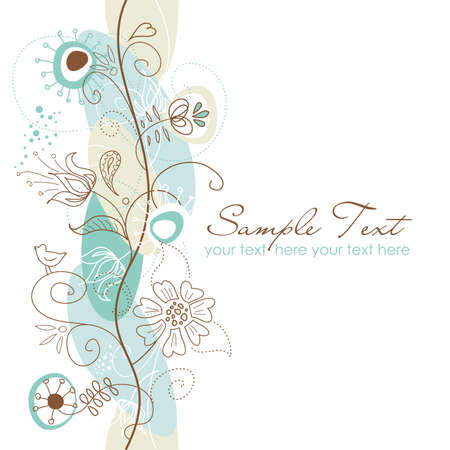 card: Retro floral seamless background