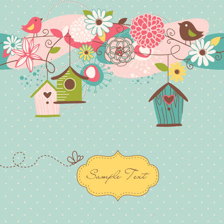 Beautiful Spring background with bird houses, birds and flowers  Çizim