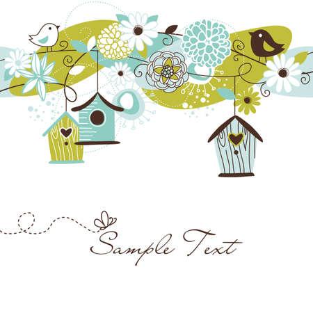 pajaro dibujo: De fondo primavera hermosa con casas de aves, p�jaros y flores