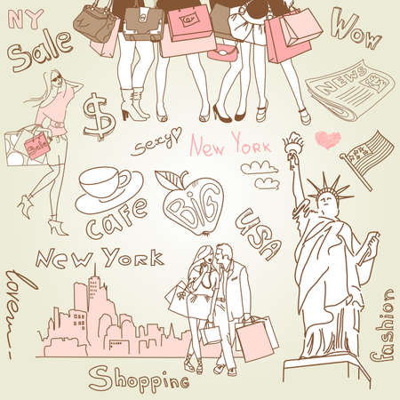fashion illustration: Shopping in New York doodles