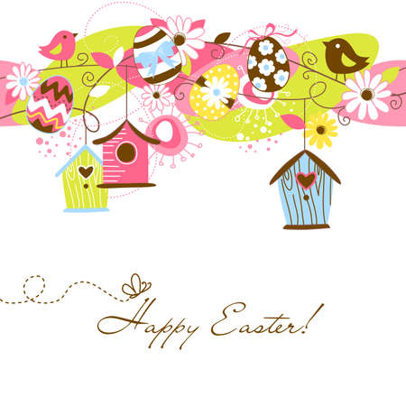 birdcage: Beautiful Spring background with bird houses, birds, eggs and flowers