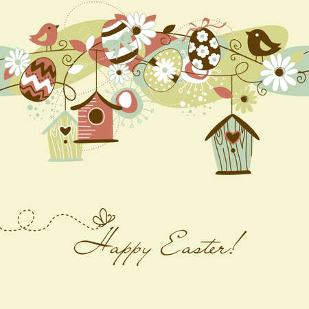 Beautiful Spring background with bird houses, birds, eggs and flowers Vector