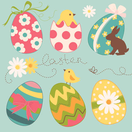 Cute Easter Egg set Vector