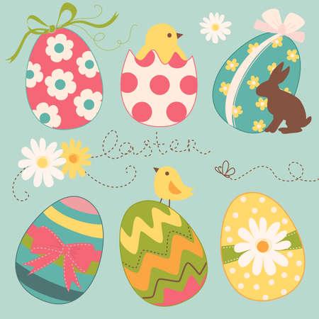arbol de pascua: Lindo huevo de Pascua juego Vectores