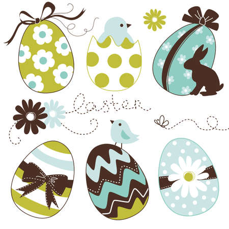 april flowers: Cute Easter Egg set Illustration