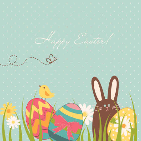 Easter Background with cute chocolate rabbit, colourful eggs and a chick