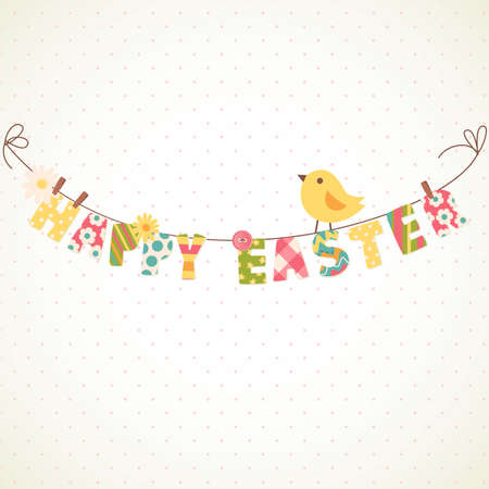 party streamers: Cute Happy Easter card. Clothesline with letters on it.